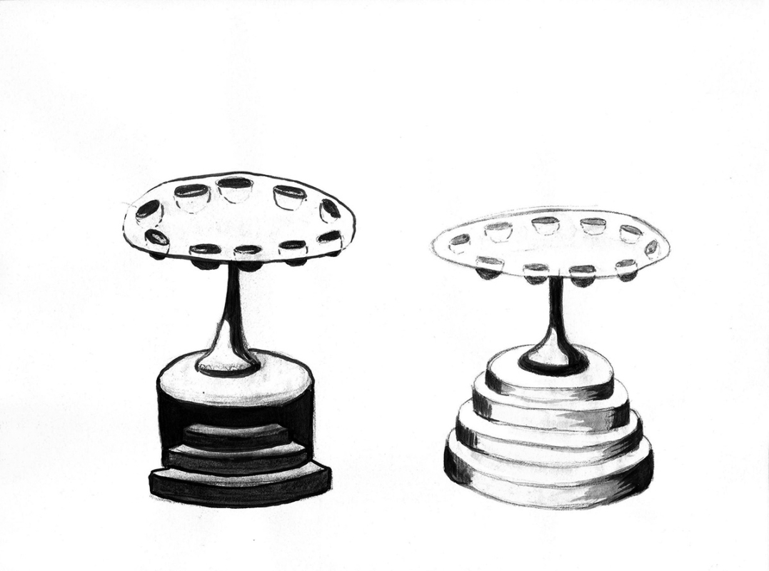Två bord, 27x17 cm, ink, 2000 - Mari Kretz
