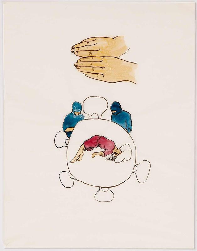 Arc de Cercle, 23x28 cm, ink/watercolor/shellac, 2005 - Mari Kretz