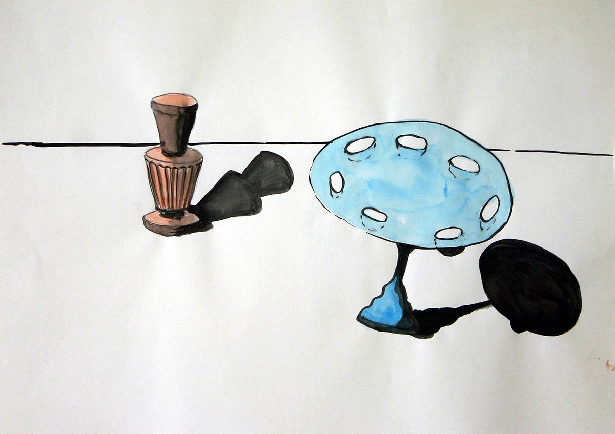 Det blå bordet, 27x17 cm, watercolor/ink, 2000