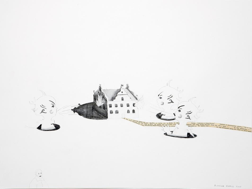 Burning Domus, 60x45 cm, collage/drawing, 2008 - Mari Kretz