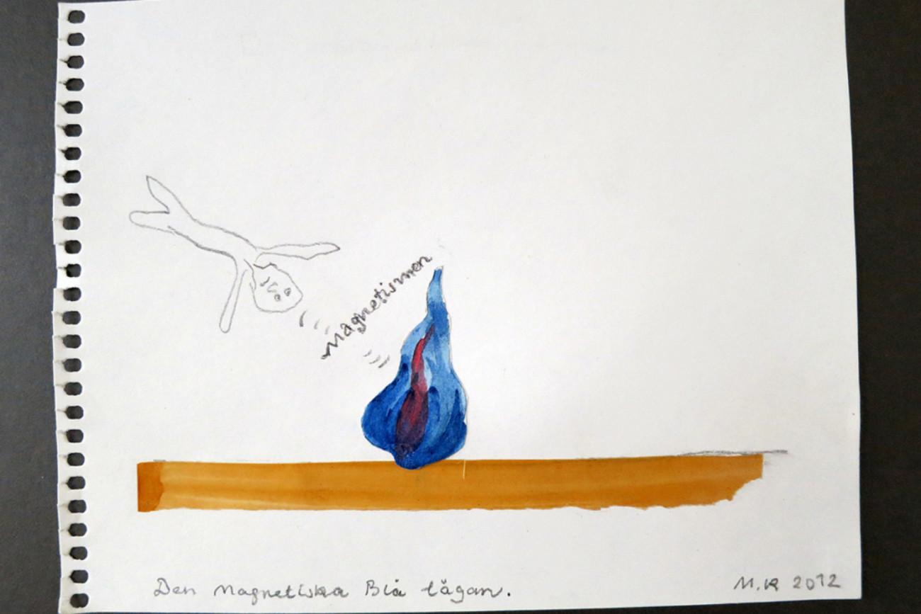 Den Magnetiska Blå lågan, 21x17 cm, collage, 2012