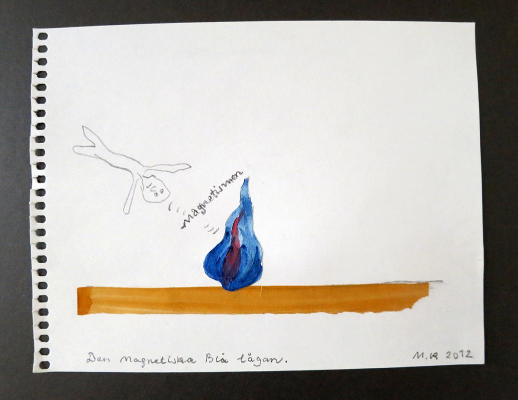 Den Magnetiska Blå lågan, 21x17 cm, collage, 2012 - Mari Kretz