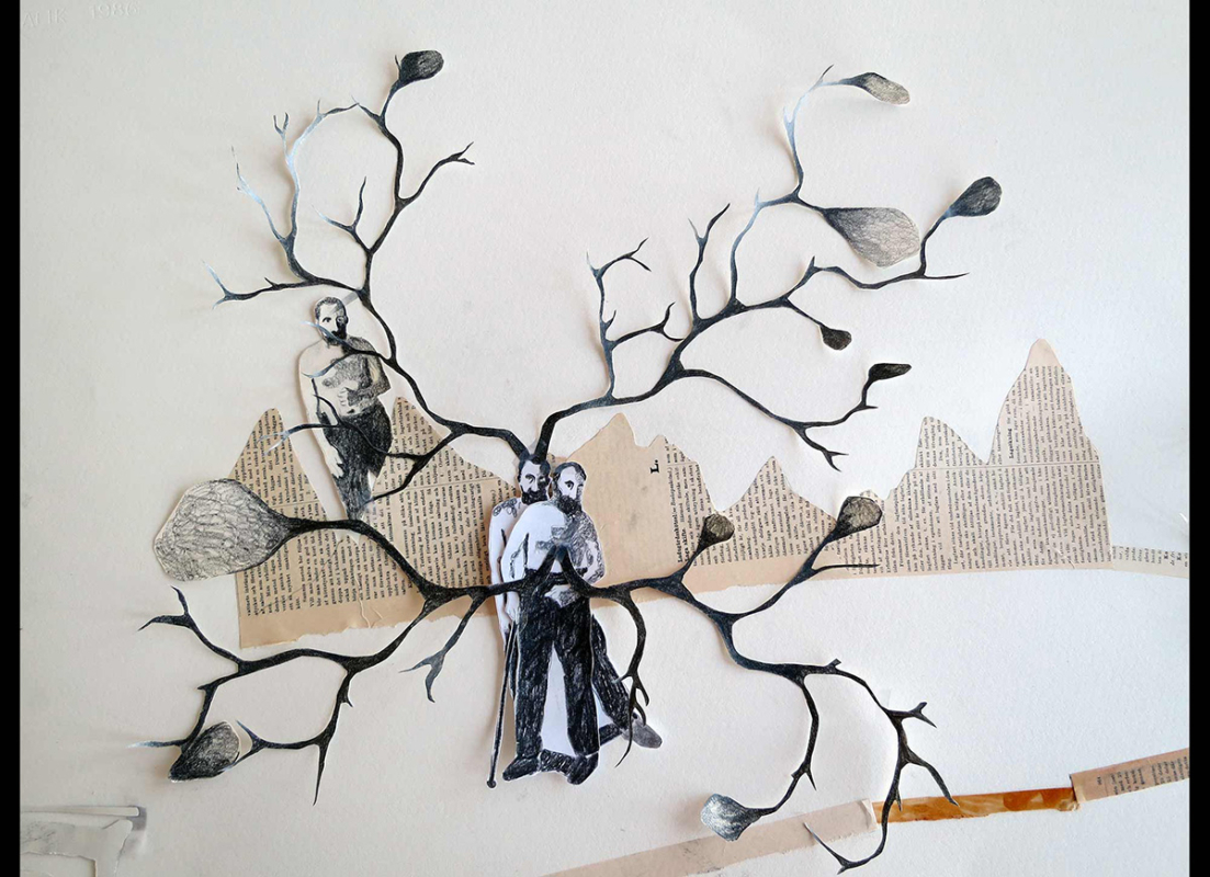 Detail of Soothing Songs for Haunted places, 93x130 cm, collage/skeleton - Mari Kretz