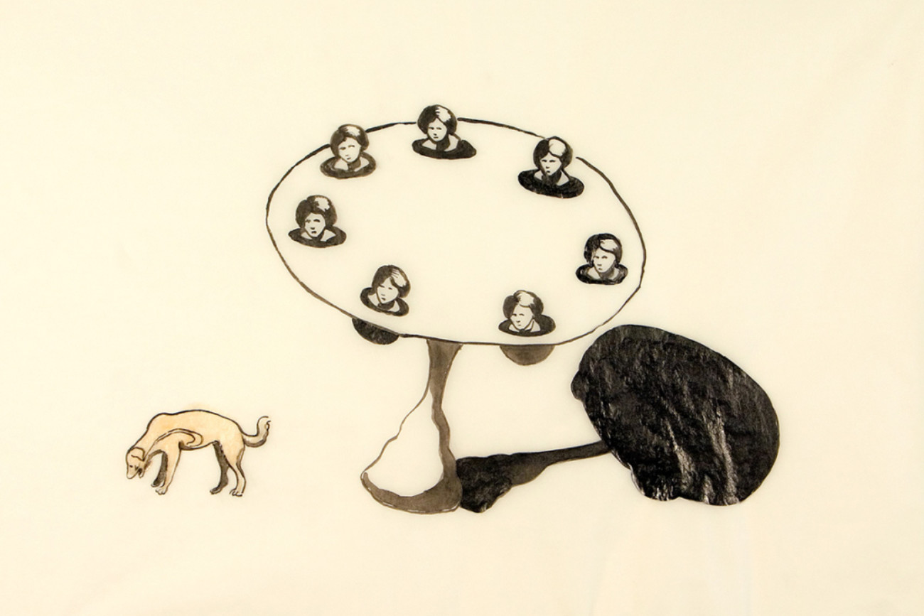 Dinner guest, 28x23 cm, ink/shellac, 2005