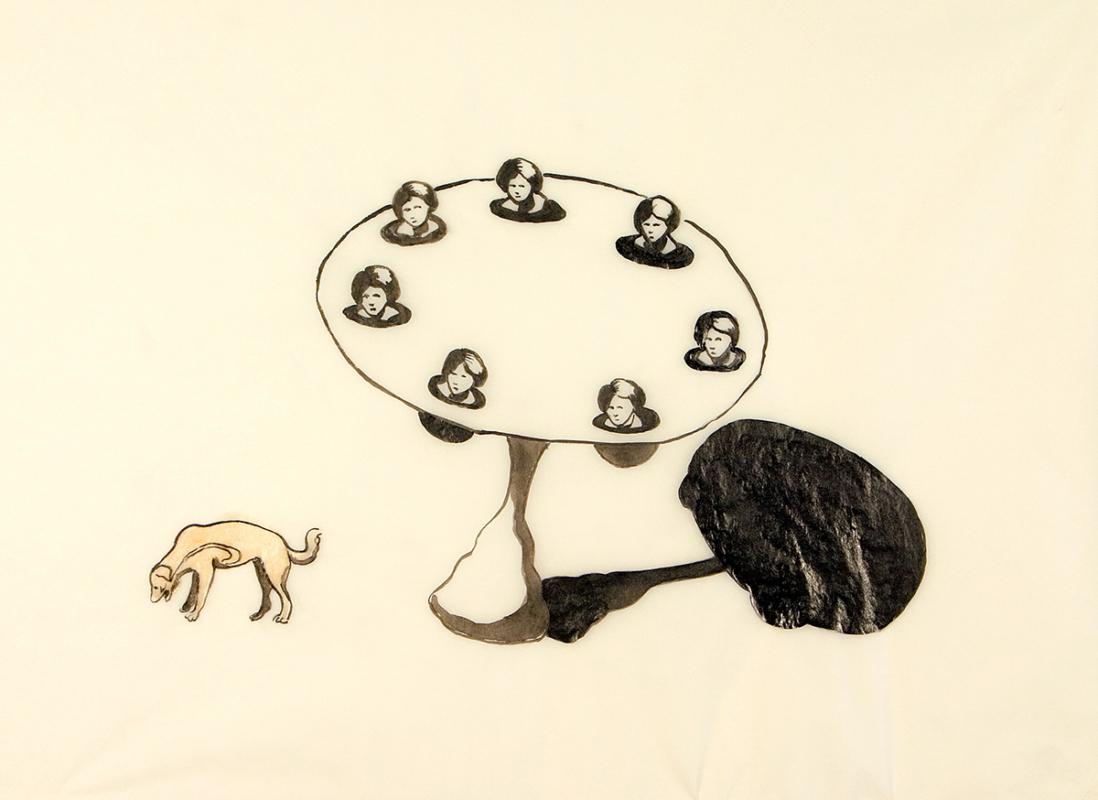Dinner guest, 28x23 cm, ink/shellac, 2005 - Mari Kretz