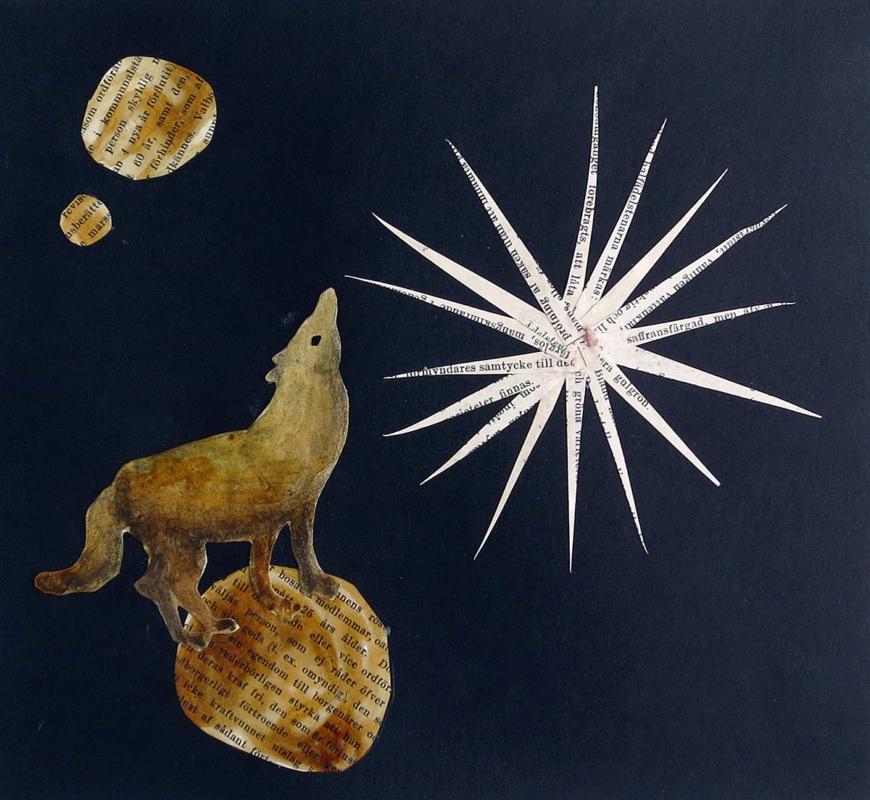 Dog sailing on a moon, 22x19 cm, collage, Mari Kretz