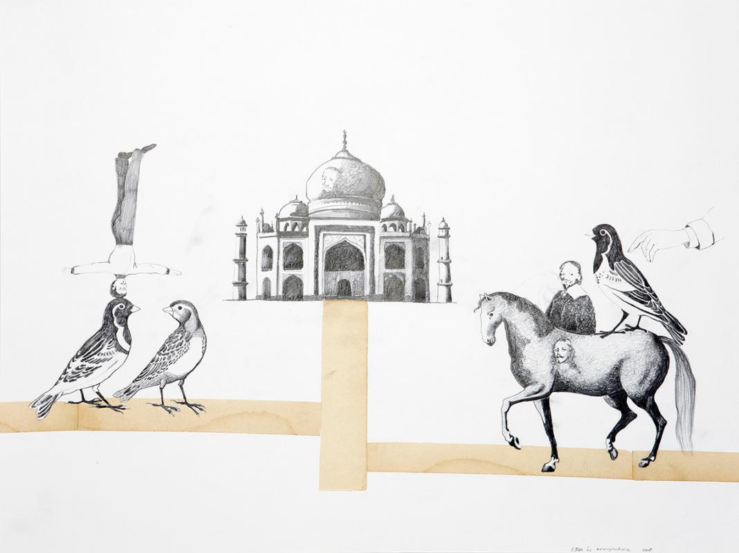 FRA is everywhere, 60x45 cm, drawing, collage, 2008 - Mari Kretz