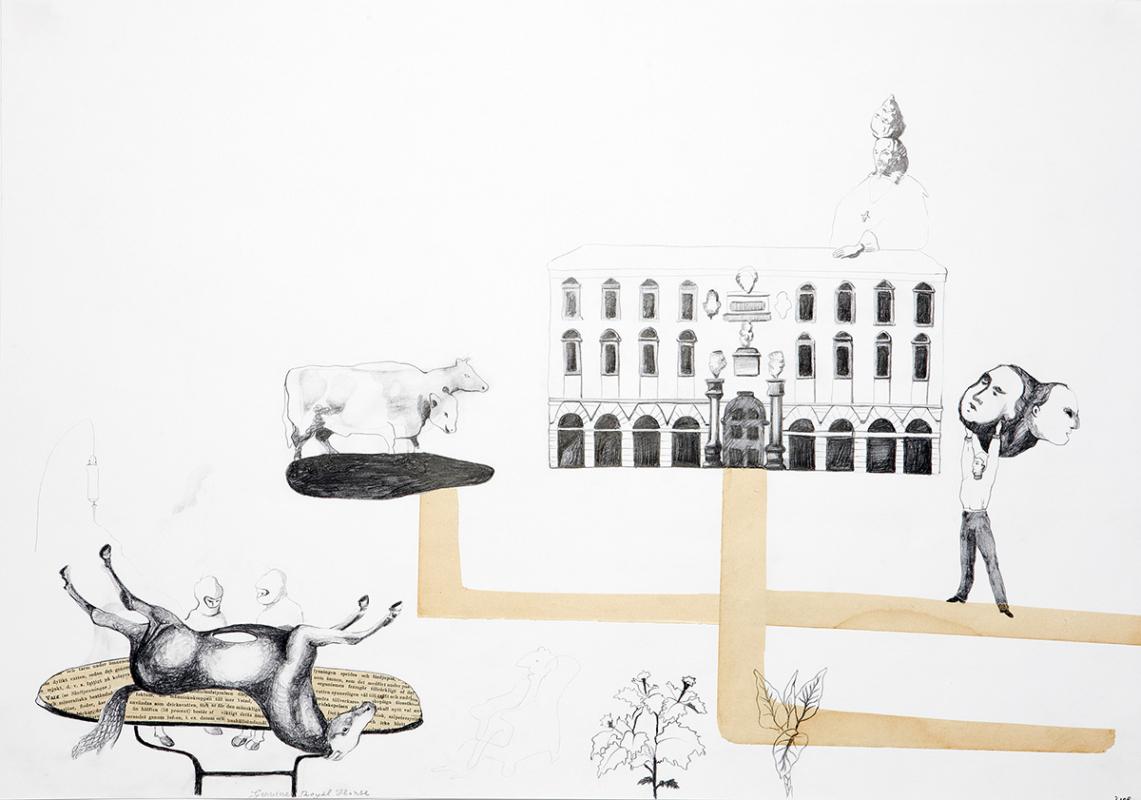 Genuine royal horse, 60x45 cm, drawing/collage, 2008 - Mari Kretz