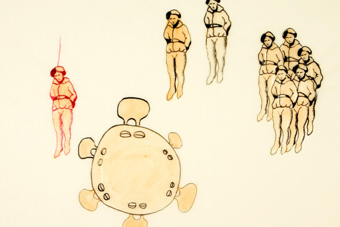 Hanged men, 28x23 cm, ink/watercolor/shellac, 2005