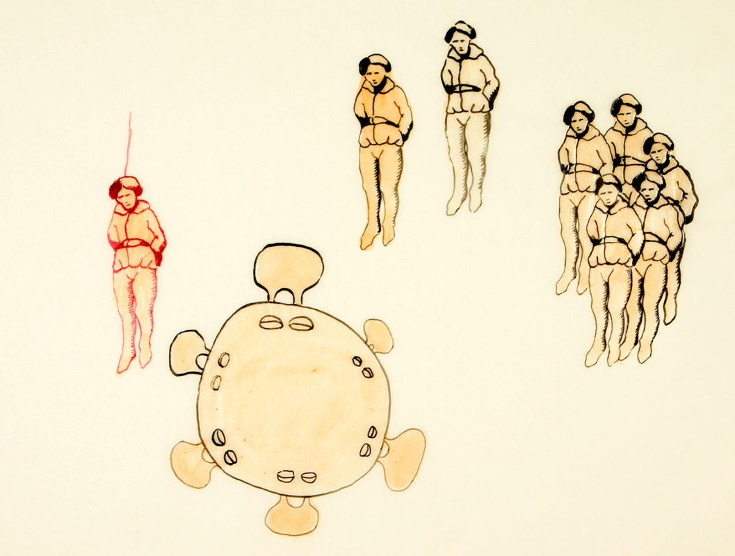 Hanged men, 28x23 cm, ink/watercolor/shellac, 2005 - Mari Kretz