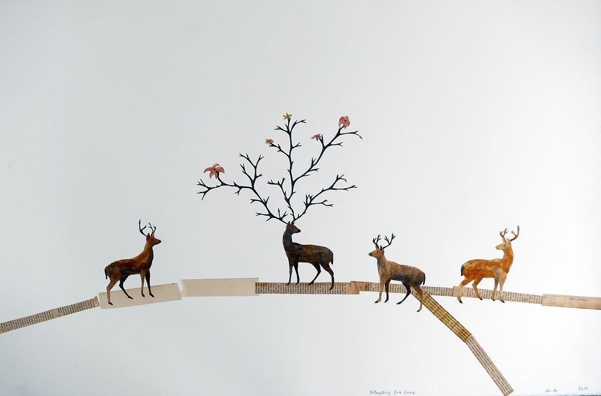 Hunting for love, 101 x 70 cm, collage, 2012 - Mari Kretz