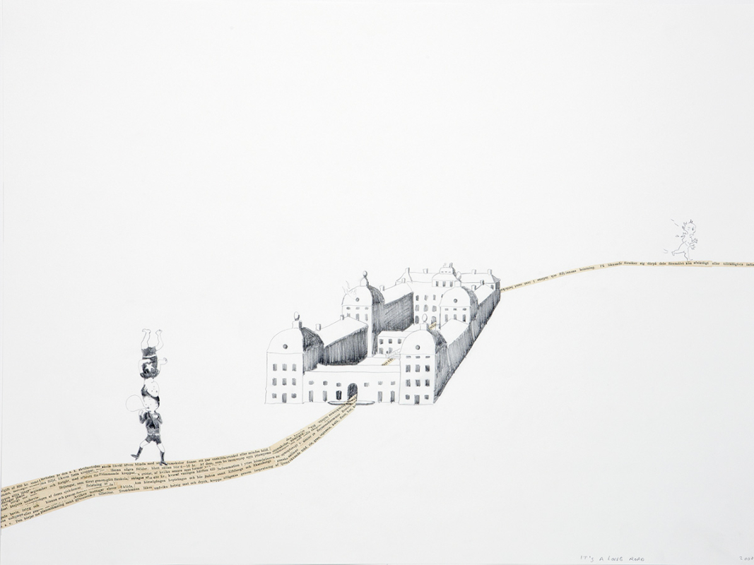 It's a long road, 60x45 cm, drawing/collage, 2008- Mari Kretz