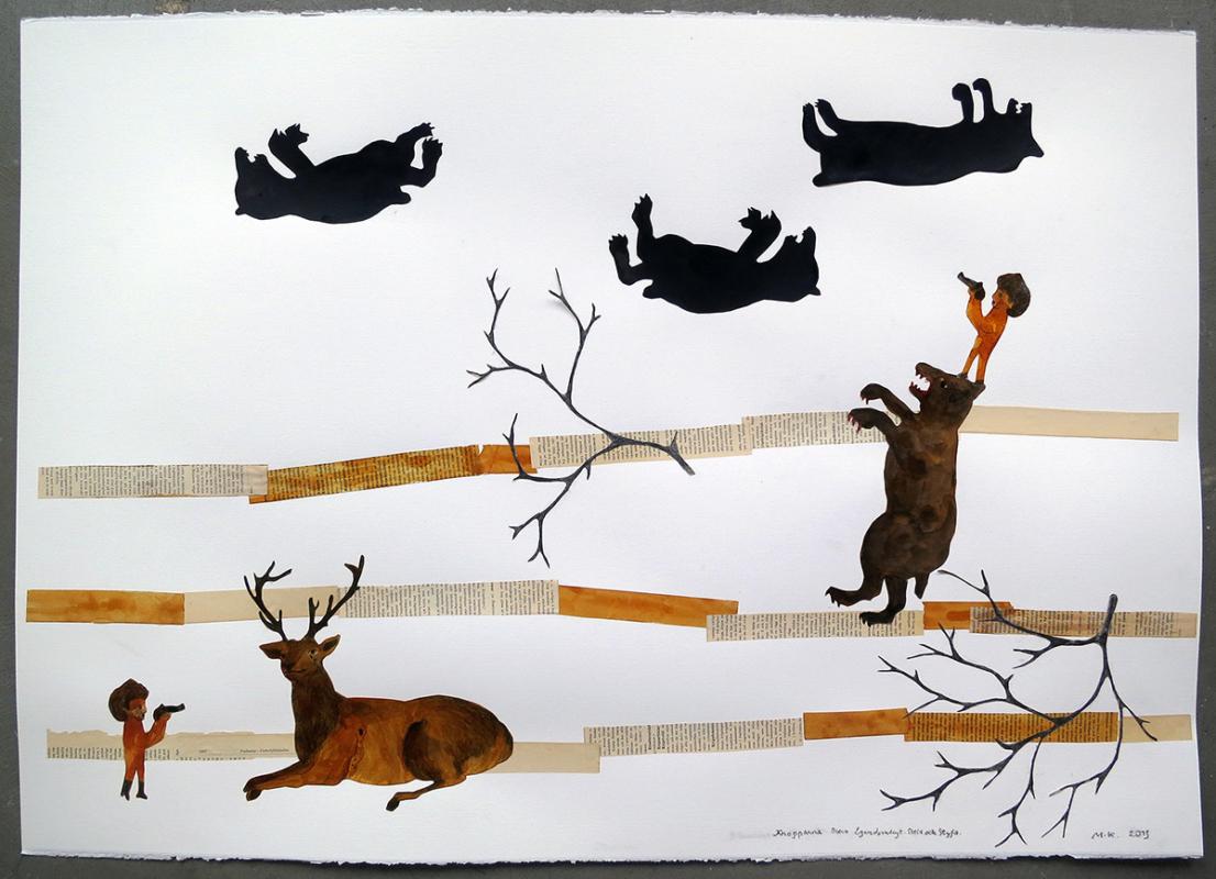 Kropparna Blevo Egendomligt Stela och Styfa. 107x78 cm, Collage, 2013 - Mari Kretz