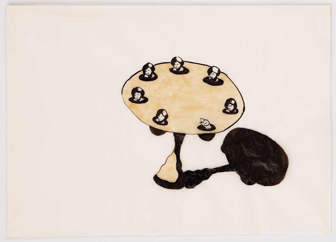 Dinner guest, 28x23 cm, ink/watercolor/shellac, 2005 - Mari Kretz