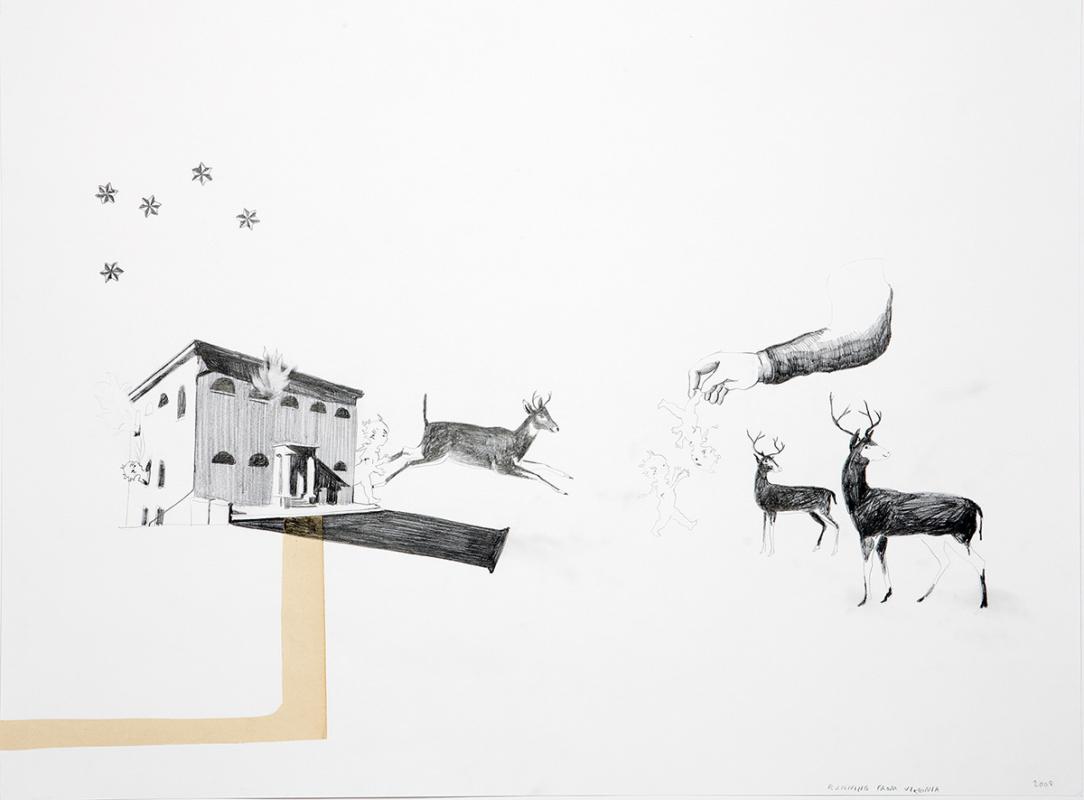 Running from Virginia, 60x45 cm, drawing/collage, 2008- Mari Kretz