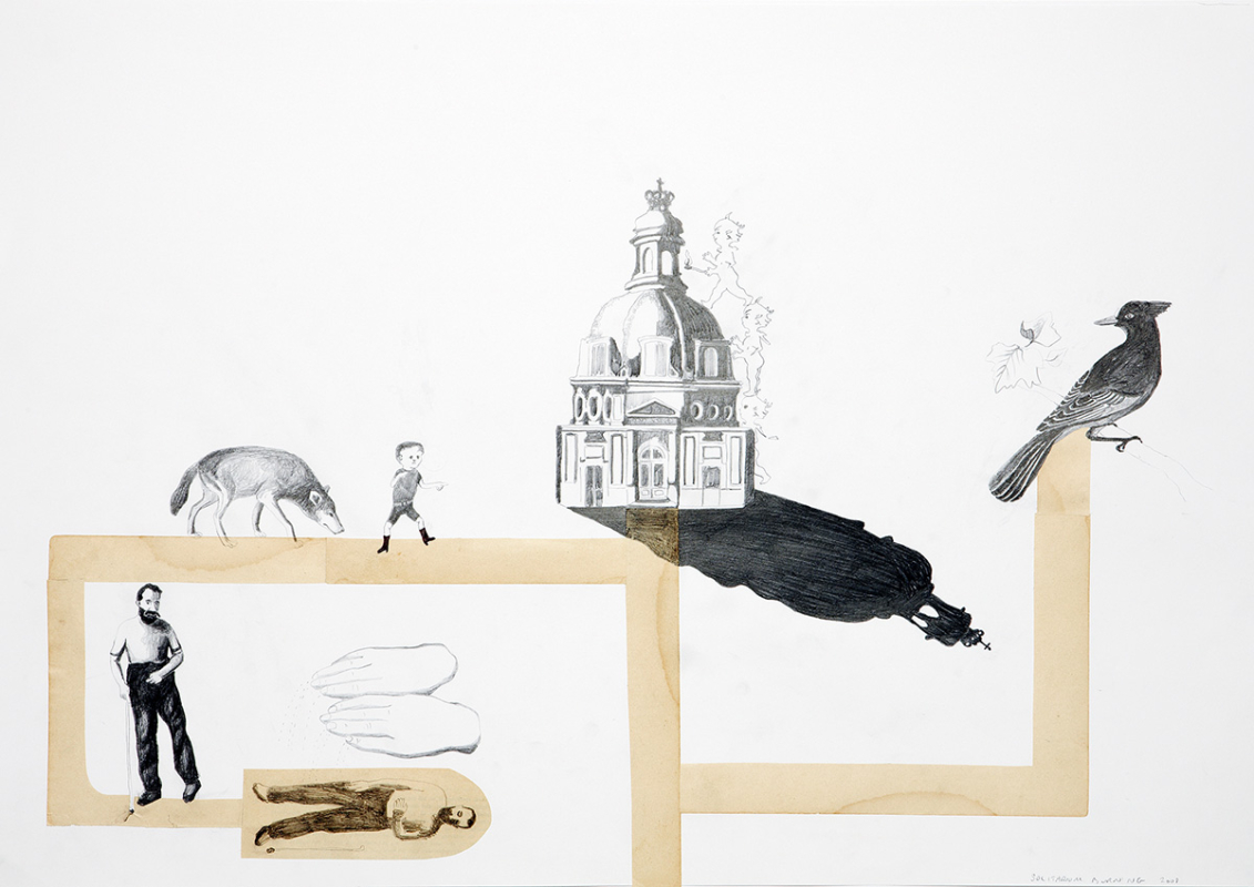 Solitarium burning, 60x45 cm, drawing/collage, 2008 - Mari Kretz