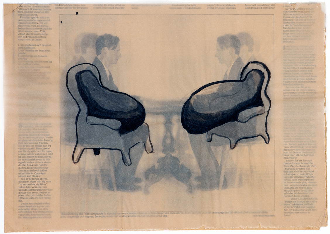 Swedenborg's armchairs, 42x30 cm, collage, 2003 - Mari Kretz