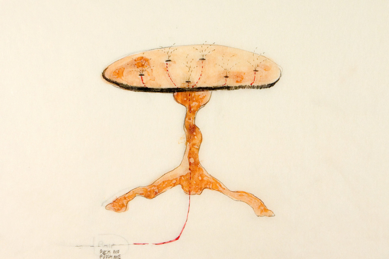 Table fountine, shellac/watercolor/drawing