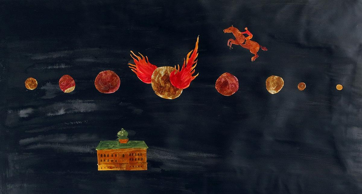 The Fire on the Moon - Collage av Mari Kretz