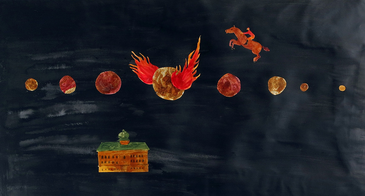The Fire on the Moon, 110x90 cm, collage - Mari Kretz