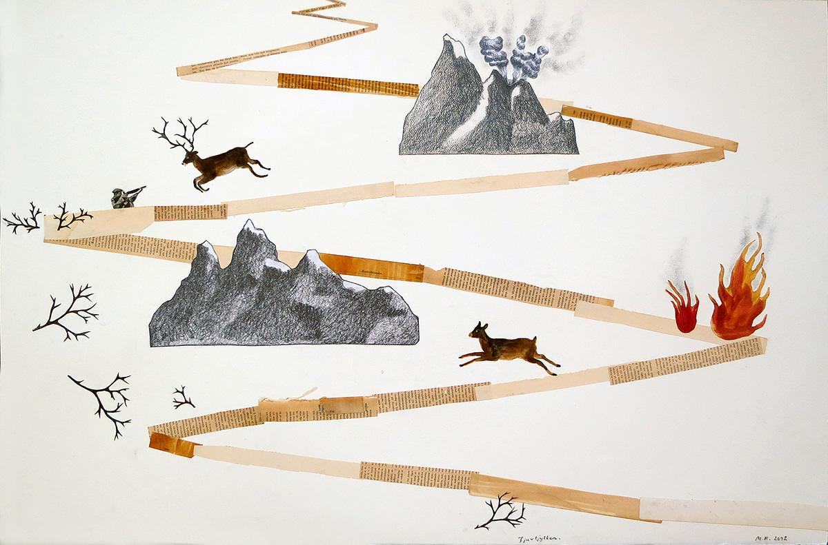 Tjuvtjytten, 101 x 70 cm, collage, 2012 - Mari Kretz