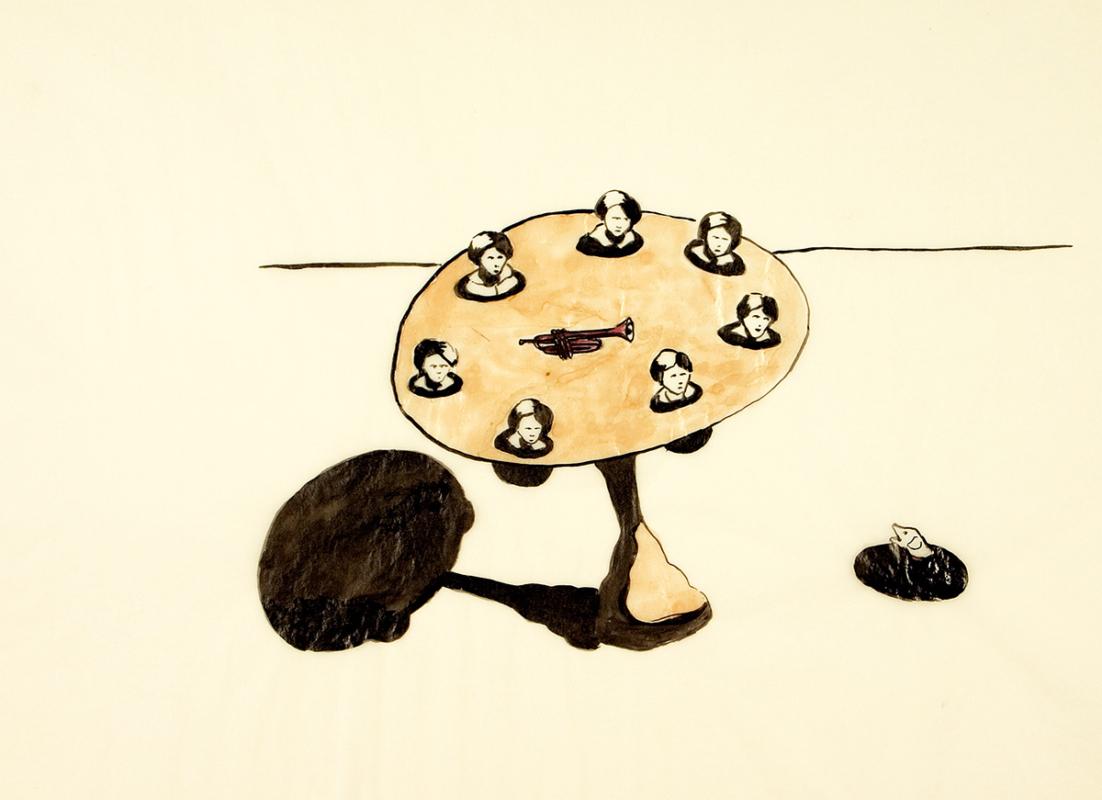 Trumpet on table, 28x23 cm, ink/watercolor/shellac, 2005 - Mari Kretz