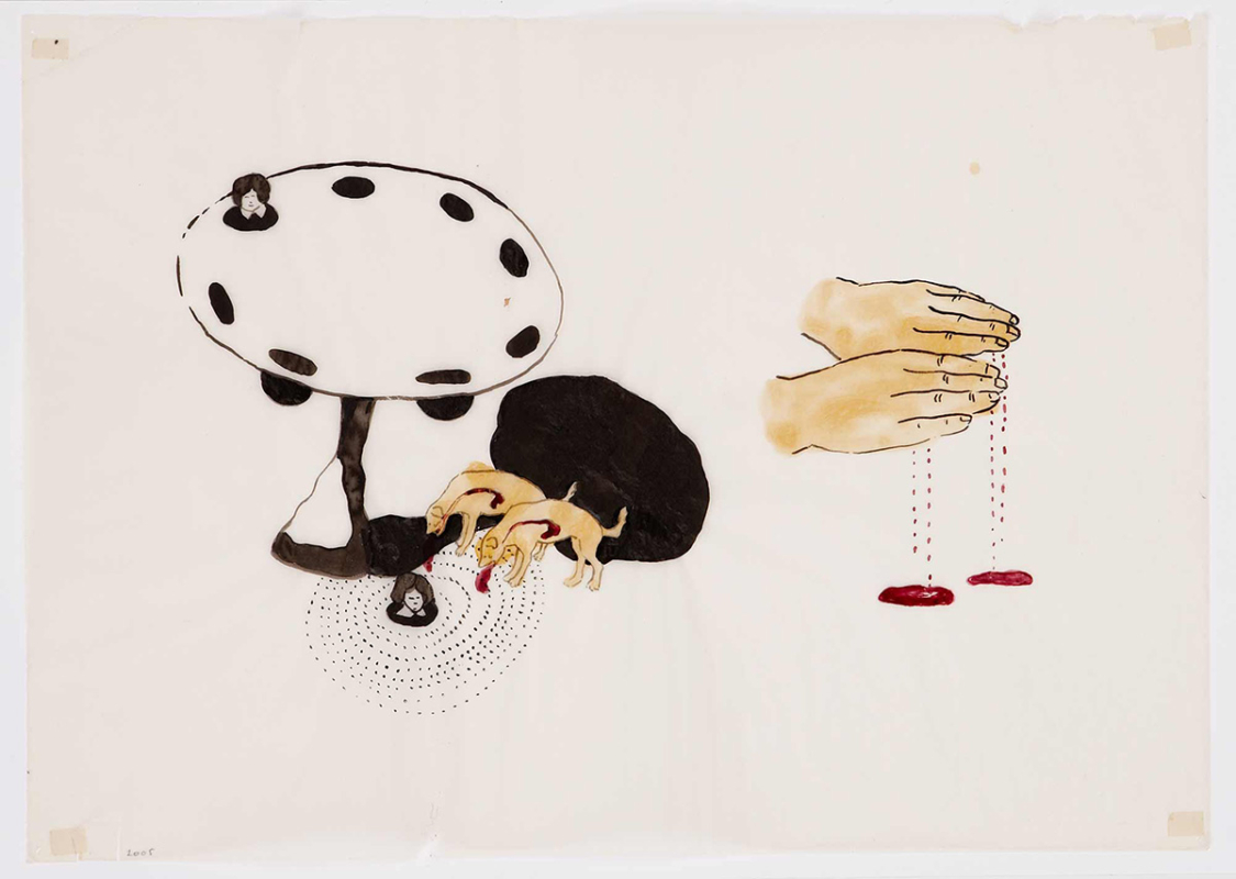Untitled, 28x23 cm, ink/watercolor/shellac, 2005 - Mari Kretz