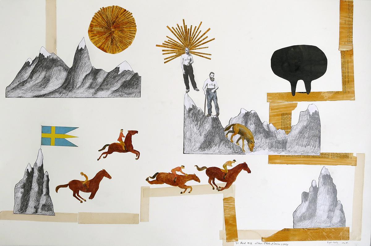 Vi Red Till döden Eller förlusten. 101 x 70 cm, collage, 2012 - Mari Kretz