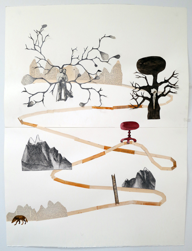Soothing Songs for Haunted places, 93x130 cm, collage/skeleton, 2012 - Mari Kretz