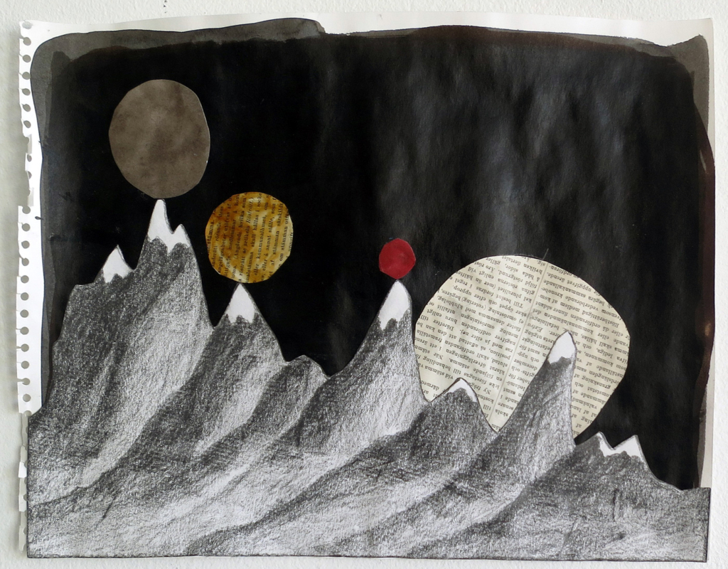 And moons rested on its journey, 34x26 cm, collage - Mari Kretz