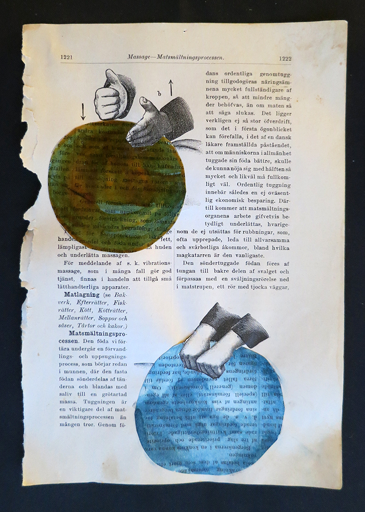 Massage for a planet, I, 15x22 cm, collage