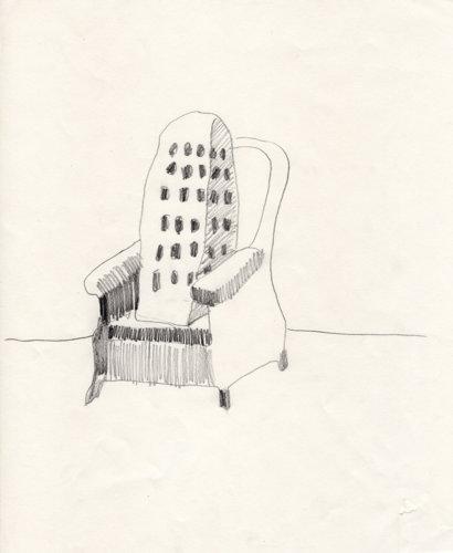 Hus vilar i stol, drawing