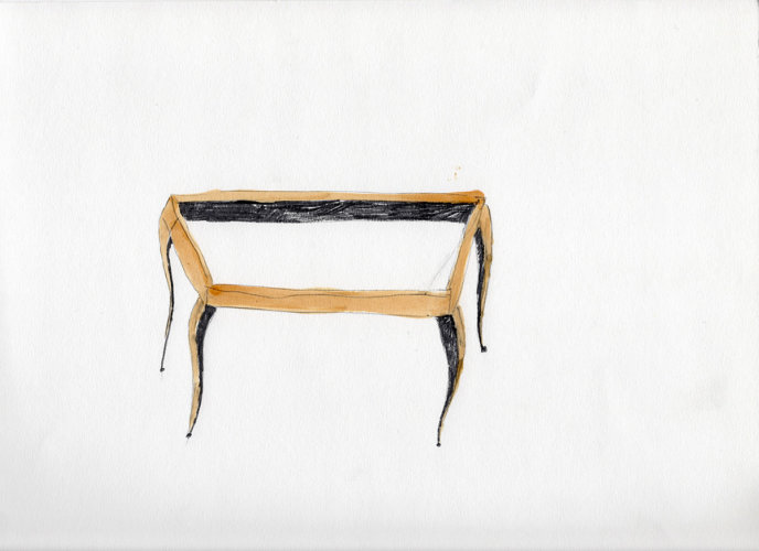 Table frame, drawing/shellac, 2006