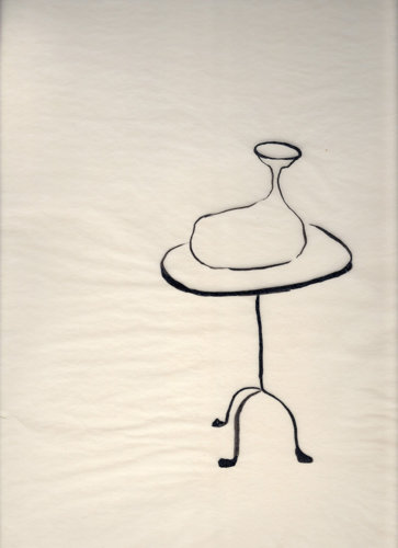 Tear collector on table, 28x38 cm, ink drawing, 2001