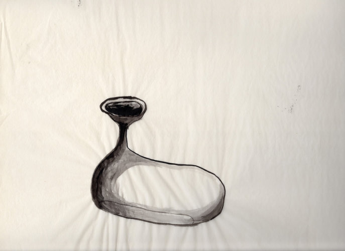 Tear collector, 38x28 cm, ink drawing, 2001