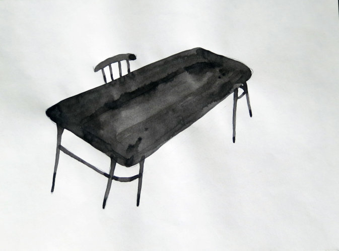 Cahir And Chinese Table, 28x21 cm, ink drawing - Mari Kretz
