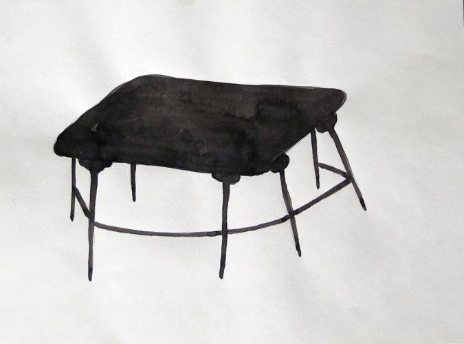 Seven Legs Chinese Table, 28x21 cm, ink drawing - Mari Kretz