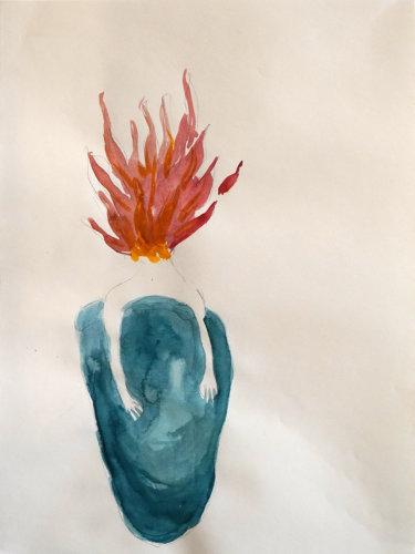 Nattlig brand/Fire at night, 28x21 cm, water color - Mari Kretz
