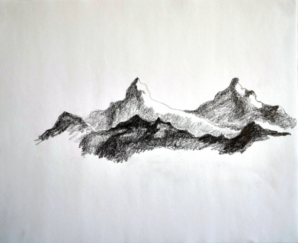 Mountains, 40x33 cm, drawing - Mari Kretz
