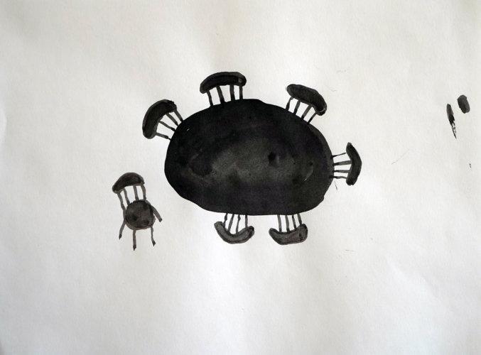 One Chair, ink drawing - Mari Kretz