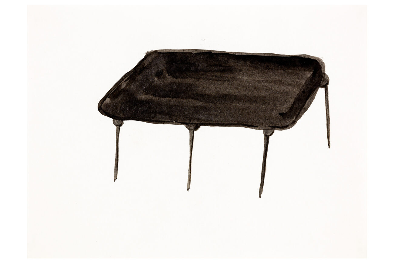 Chinese Table Missing One Leg, 28x21 cm, ink drawing - Mari Kretz