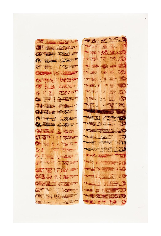 Knivarna II, 65x100 cm, akvarell och schellack - Mari Kretz