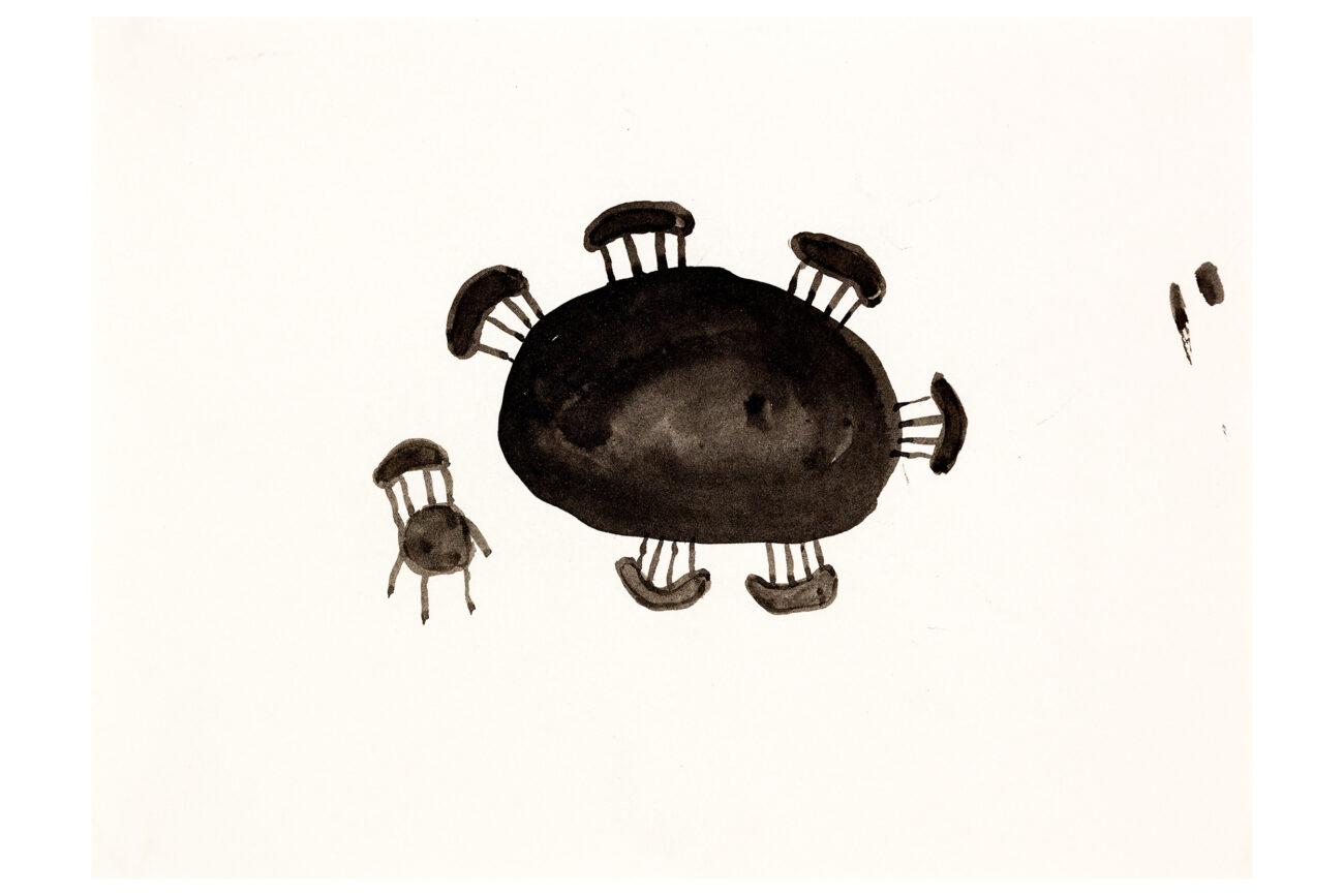 One Chair, 28x21 cm, ink drawing - Mari Kretz