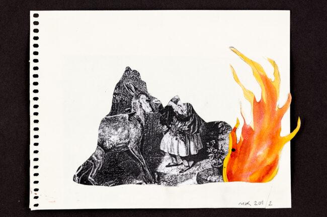 The Flame, 21 x 17 cm, collage - Mari Kretz