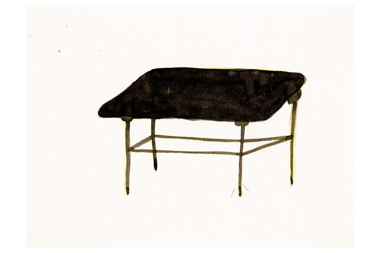 Yellow Legs Chinese Table, 28x21 cm, ink drawing - Mari Kretz